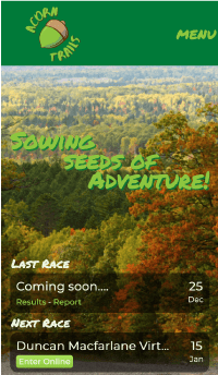 Screenshot of the Acorn Trails website on a phone