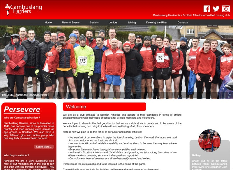 Screenshot of the Cambuslang Harriers Website