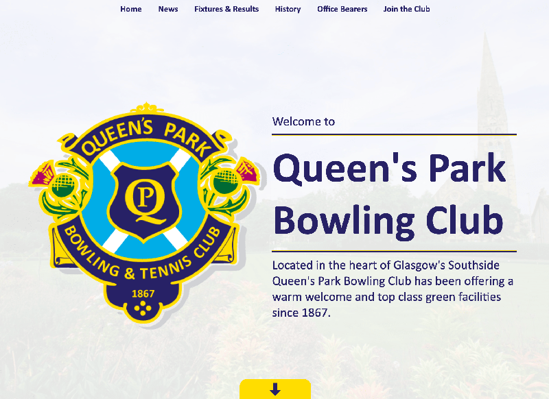 Screenshot of the Queen's Park BC Website on a computer